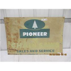 "BL - Metal Pioneer Chain Saw Sign 24"" x 36"" Vintage"