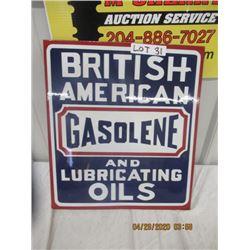 """CH- Porc British American Gas & Oil Flange 18"""" x 16"""" - 2 Sided - Modern"""