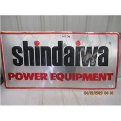 "Y- Metal Embossed Shindaiwa Power Equip 24"" x 48"" - Original - Not that Old"