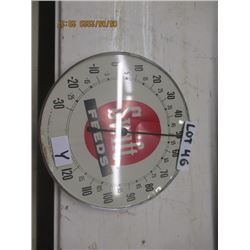 """Y-Swift Feeds Thermometer 10"""" Rd - Crack On Glass - Vintage"""