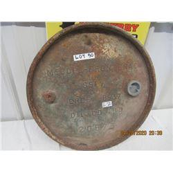 "LZ-Metal Embossed McColl-Frontenac Barrel TOp 22"" Rd Vintage Cut Out"