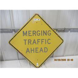 """Y- Metal Merging Traffic Ahead 24"""" x 24"""" - Vintage"""