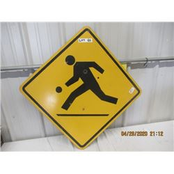 "CZ- Metal Caution Children Playing 24"" x 24"" Vintage"