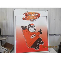 """NS- Fibre- Material w Frame A & W Crusin' Sign 60"""" x 48"""" - Original Not That Old"""