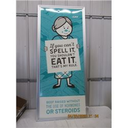 """NS- Fibre-Material w Frame A & W Natural Beef Promotion 74"""" x 32"""" - Original Not That Old"""