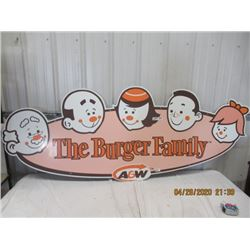 """NS-Fibre-Material A & W The Burger Family 32"""" x 83"""" Original Not That Old"""