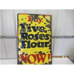 """Y- Porc Five Roses Flour 2 Sided 42"""" x 28"""" Vintage"""