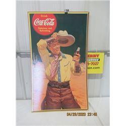 """V2- Cardboard 1941 Coca Cola Cowboy 37.5"""" x 22.5"""" - Vintage"""