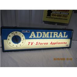 """Y- Light Up CLock Admiral TV Stereo 11"""" x 37"""" Vintage"""