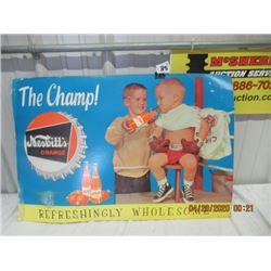 """CTP- Cardboard Nesbitts Orange Sign 20""""x30"""" Vintage"""
