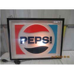 "V2-Wood Framed Plastic Pepsi Light Up 28"" x 35"" Original Not Very Old"