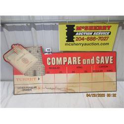 "CZ- Cardboard Turret Cigarett Sign/Price Chart Combo 18"" x 39"" - Vintage"