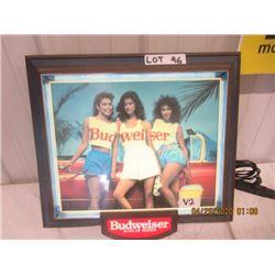 """V2- Plastic Light Up Busweiser Beer 18"""" x 18"""" Vintage"""
