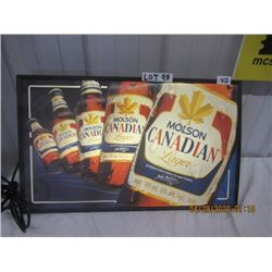"""V2- Plastic LIght Up Molsen Canadian Beer 16""""x26"""" Vintage"""