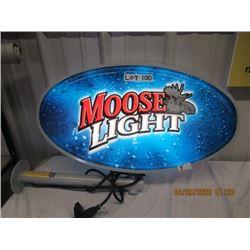 """Y-Metal Framed Plastic Lens Light Up Moose Light Flange - 2 Sided 15"""" x 26"""" - Original Not Very Old"""