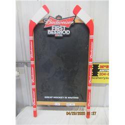 "V2 - Budweiser Wood Chalk Menu Board/Scoreboard 43"" x 23"" - Original Not Very Old"