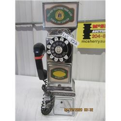 "V2 - ""In The Grey Telephone Station Company"" Chrome Manitoba Payphone w Topper - Vintage"