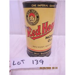 CH- Red Head Motor OIl Quart- No Top Vintage