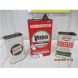 Y- Pkg of 3 1) Veedol Motor Oil - 1 Gallon 1) Castrol Outboard Motor Oil 1 Quart 1) Coop Outboard Mo