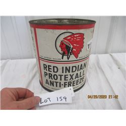 VI- Red Indian Protexall Antifreeze 1 Gallon No Top - Punctured Bottom- Vintage