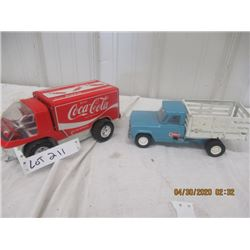 CZ- Pkg of 2 1) Tonka Stake Side Truck 1) Japan Battery Coca Cola Van (Both Plastic & Metal)  Origin
