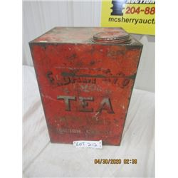 "V2- Very Old Large Tea Tin - London Canada 15"" x 10.5"" x 10.5"" - VIntage"