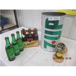 NS- Pkg of 3 1) Schweppes 6 Pkg Carrier w Full Bottles 1) Metal 7 Up Garage Can 1) Approx 40 Gingera