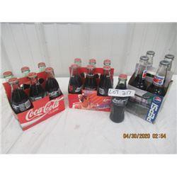 VVV- Pkg of 3 Coke & Pepsi Carrier & Bottles Original Not Very Old