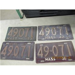 SEW- 4 Massachusettes 1931, 1936, 1938 & 1942 License Plates - Vintage