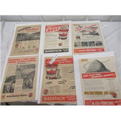 CTP - Pkg of 6 1940's Advertising Pages w Texaco & McColl Frontenac  - Vintage