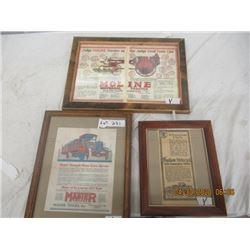 Y- Pkg of 3 Framed Paper Adv 1) Indian Motorcycle 1) Master Trucks 1) Moline Plow/Tractor - Vintage