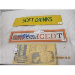 "Y- Pkg of 3 1) Wood Soft Drinks 6"" x 24"" 1) Plexiglass Coors Light 6"" x 24"" 1) Paper Pepsi  VIntage"
