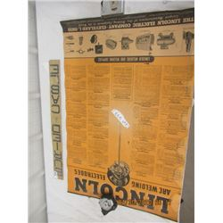 """NS- Pkg of 2 1) Paper Lincoln Welding Chart 1) Metal Buried Cable 3"""" x 26"""" - Vintage"""