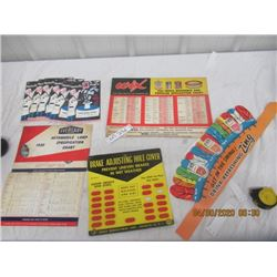 NS - Pkg of 5 - Garage Product Charts, Stationary & Zing Child's Head Pieces - VIntage
