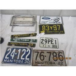 NS- Pkg of 4 License Plates- MB- 1930, 42, 58 & MC 3) Tags 2) 1953 1) 1957 , 4 License Plate Bracket
