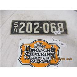 "CZ- Pkg of 2, 1) Porc Durango & Silverton  RR Sign 7"" x 10"" 1) S A License Plate - Original Not Very"
