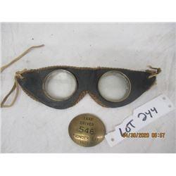 V2- Pkg of 2 - Old Motorcycle Goggles, 1975 Taxi Badge- Vintage