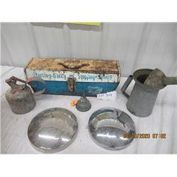 V2-Pkg of 6 Bendix Brake Tool Box, Hubcaps, Gas , OIl Cans- Vintage