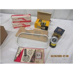 Y- Pkg of 6 New Old Stok Autoparts, Armaco Box Champion Spark Plugs,2 Oil Spouts Tacometer, Frost Sh