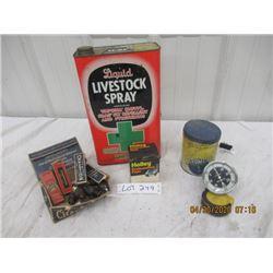 NS- Pkg of 4 Livestock Spray Tin, Champion Spark Plugs, Holley Filter, Tacometer- Vintage