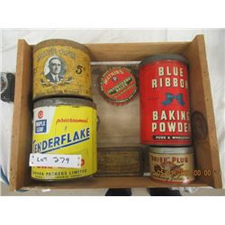 PM- Pkg of 6 - Various Tins, Blue RIbbon, Household, Tobacco - Vintage