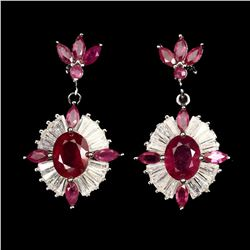 Stunning Oval Red Ruby 9x7 MM Earrings