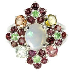NATURAL OPAL TSAVORITE GARNET & TOURMALINE Ring