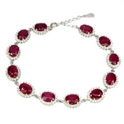 Genuine Oval Red 8x6mm Ruby Bracelet