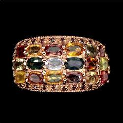 Natural Fancy Sapphire & Rhodolite Garnet Ring