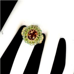Natural  Zircon, Chrome Diopside & Emerald Ring