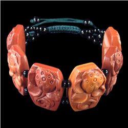 Natural Stone Hand Carved Meditation Lotus Bracelet