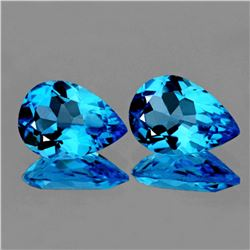 Natural Intense AAA Swiss Blue Topaz Pair 10x7 MM - FL