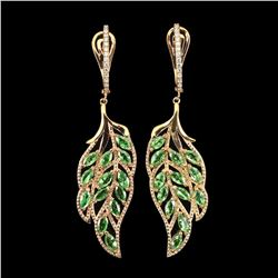 Natural Marquise Green Tsavorite Garnet Leaf Earrings