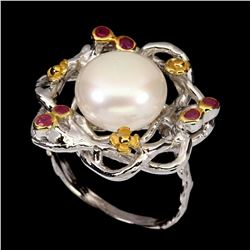 Natural Pearl & Ruby Ring